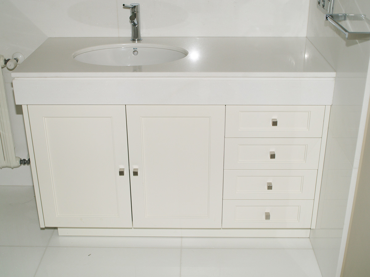 Mueble de ba o lacado blanco vetta grupo for Mueble bano blanco