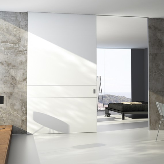 Puertas correderas gran formato o de suelo a techo vetta for Puertas interiores blancas