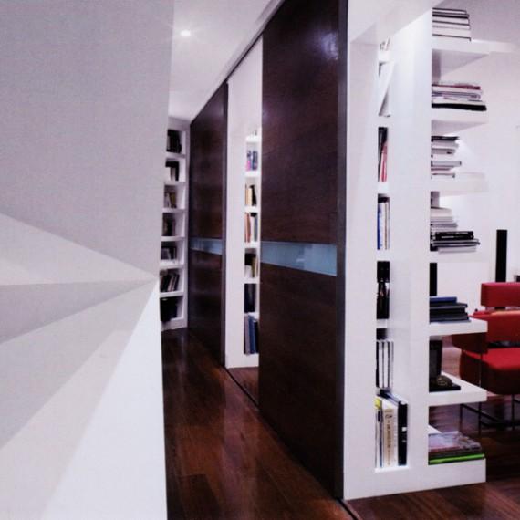 Mueble estanteria a medida lacado blanco