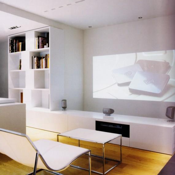 Mueblede salón lacado blanco