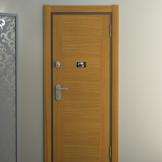 Puerta de seguridad pvc negro puertas coru a vettagrupo for Puertas de madera cordoba